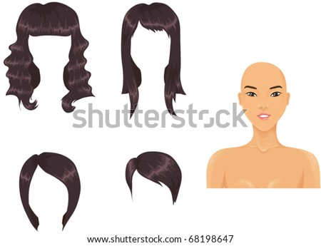 Woman head with haircut assortment