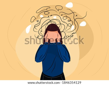 Woman headache or anxiety attack crisis. Frustrated woman with nervous problem feel anxiety confusion of thoughts vector. Depressed woman deep in thought. Anxiety touch head. Mental disorder and chaos