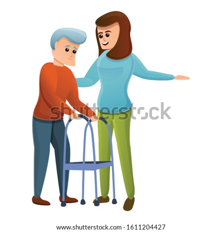Woman helps an old man icon. Cartoon of woman helps an old man vector icon for web design isolated on white background