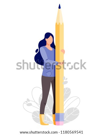 Woman hold big pencil. Writer vector illustration. Flat cartoon character concept design for bloggers, journalists, interviewer, copywriters