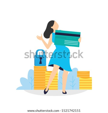 Woman hold credit card, she is paying using a credit card, shopping and retail concept - vector