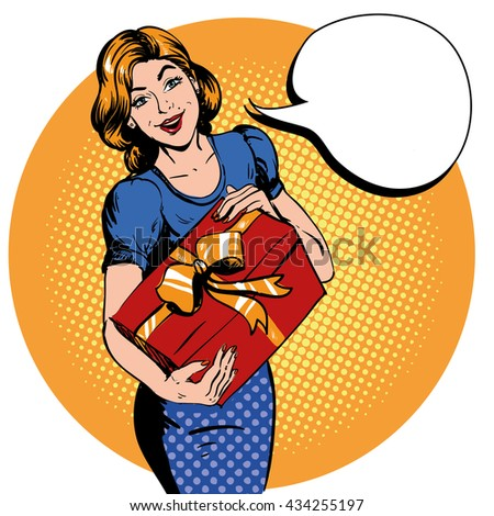 woman hold gift box thank you