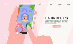 Woman hold smartphone with diet planning diary application. Concept of healthy eating, personal diet or nutrition plan, dieting expert consultation or online nutrition course for social media banner.