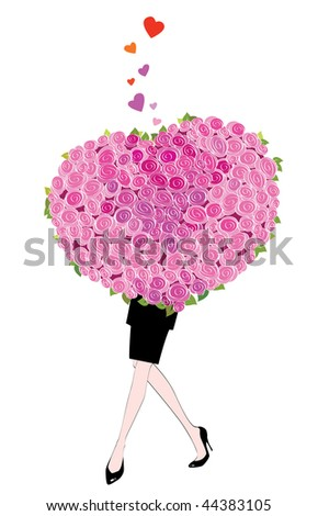 Woman holding a bouquet of roses shaped like a heart.