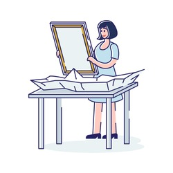 Woman holding canvas for drawing. Cartoon female artist before painting. Creative hobby or professional occupation concept. Art and artistic people. Linear vector illustration