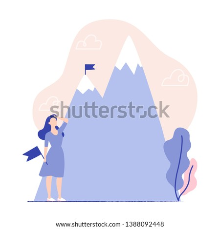 Woman holding flag and looking at the mountains. Flag on the mountain peak. Business concept, goal achievement, success, winning. Vector illustration, flat design.