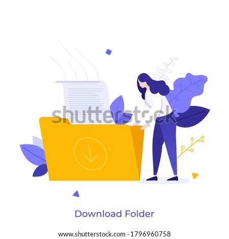 Woman holding folder with document. Concept of file download, data storage, cloud computing service, digital information organization. Modern flat colorful vector illustration for poster, banner.