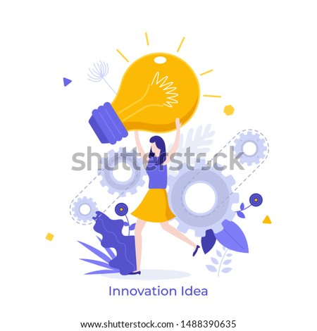 Woman holding giant glowing electric light bulb. Concept of innovative idea, innovation, breakthrough technology, modern thinking. Vector illustration in flat style for banner, poster, advertisement.