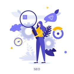 Woman holding giant magnifying glass or loupe. Concept of SEO or search engine optimization, internet algorithm for increasing website visibility, online marketing strategy. Flat vector illustration.