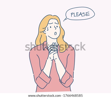 Woman holding hands in prayer and asking for help with pleading imploring expression. Hand drawn in thin line style, vector illustrations. Foto d'archivio ©