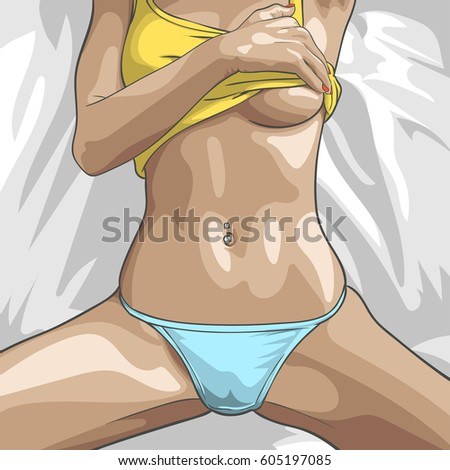 woman holding her boobs vector