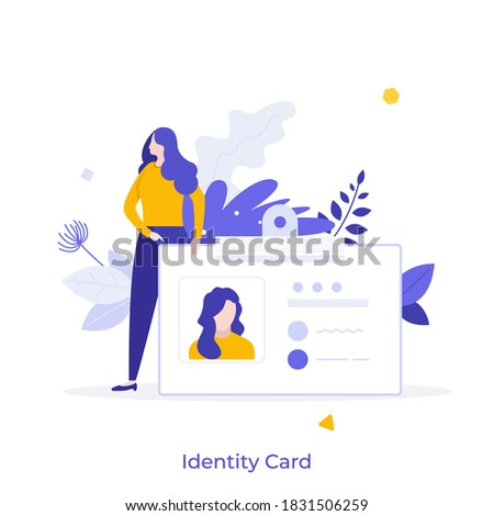 Woman holding ID, name tag, badge. Concept of identity card with personal information, national identification document, passport, driver's license. Modern flat colorful vector illustration for banner Stock fotó ©