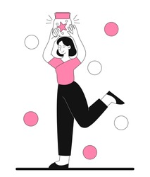 Woman holding jar. Winner received prize, achievement, present. Young girl caught her dream. Happy, joyful, smiling. Line art, simple. Cartoon flat vector illustration isolated on white background