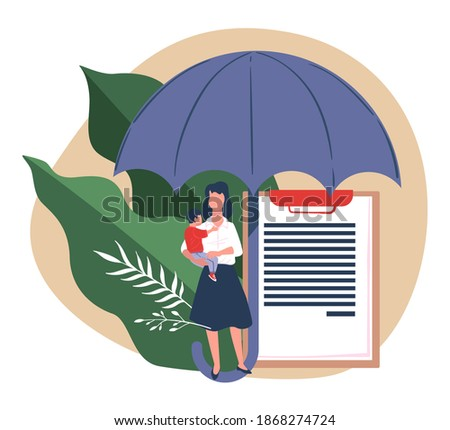 Woman holding kid standing under umbrella. Insurance and safety, protection of life and security for family members. Document with agreement of client and company covering expenses, vector in flat Photo stock ©