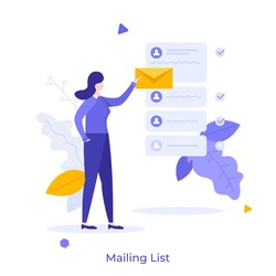 Woman holding letter in envelope to send. Concept of mailing list, emails or electronic addresses for communication, correspondence, newsletters. Modern flat colorful vector illustration for banner.