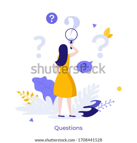 Woman holding magnifying glass and looking through it at interrogation points. Concept of frequently asked questions, query, investigation, search for information. Modern flat vector illustration.