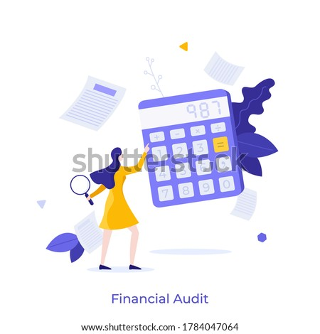 Woman holding magnifying glass and using calculator. Concept of financial audit or professional accounting service, calculation of expenses. Modern colorful flat vector illustration for banner. Photo stock ©