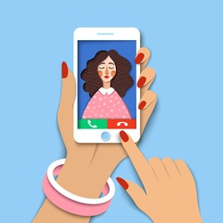 Woman holding mobile phone. Incoming call on smartphone screen. Close up hand holds phone and finger touch screen. Creative paper art, concept of world global communication, Vector cutout illustration