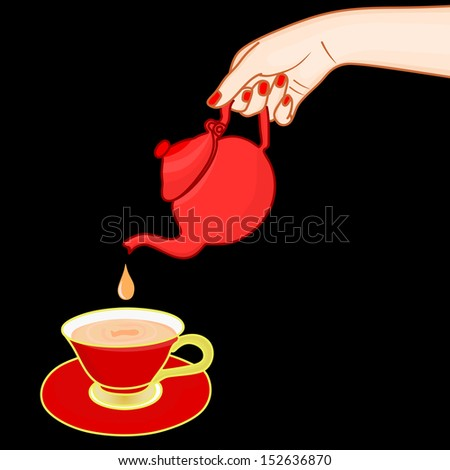Woman holding red teapot  - stock vector
