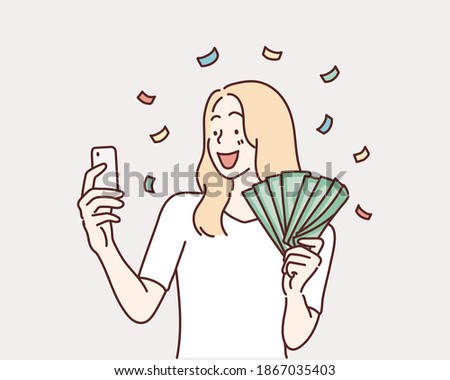 Woman holding smartphone and dollars. drawn style vector design illustrations.