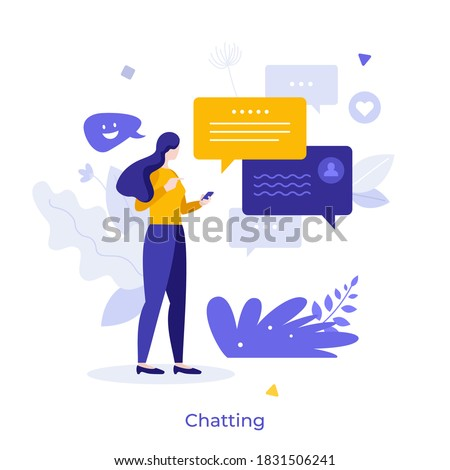 Woman holding smartphone and sending messages. Concept of chatting, online messaging, application for internet conversation, digital communication. Modern flat vector illustration for banner, poster.