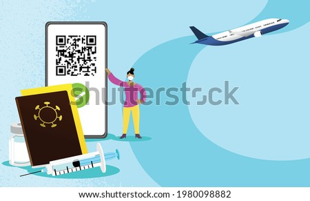 Woman holding smartphone with QR code on screen. Concept of authorization of travel with vaccine passport and digital sanitary pass, European Green Pass.  International Certificate of vaccination. Stock photo ©