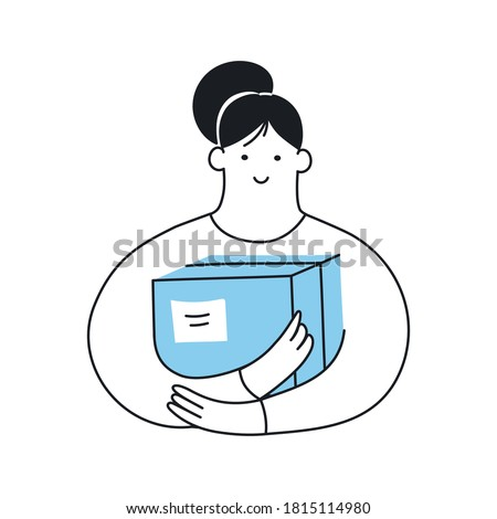 Woman holding the carton box. Parcel delivery, courier work, personal stuff, preparation of cargo for shipment. Flat outline cartoon isolated vector illustration on white