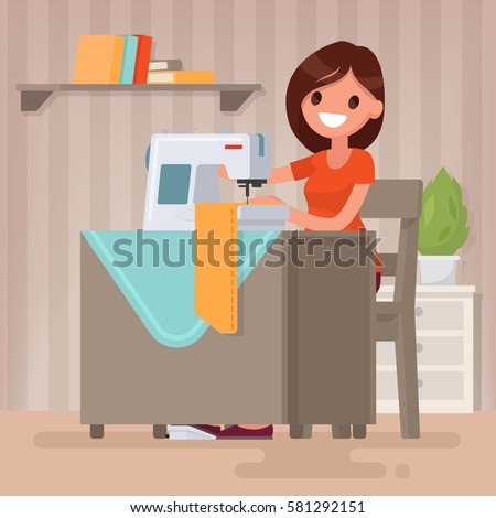 Woman housewife sews on the sewing machine. Vector illustration in a flat style Foto d'archivio ©