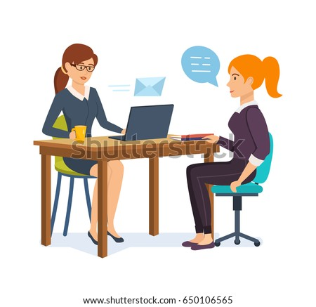 Woman HR interviews an employer with a potential employee, communicates, exchanges information and data. Vector illustration isolated on white background in cartoon style.