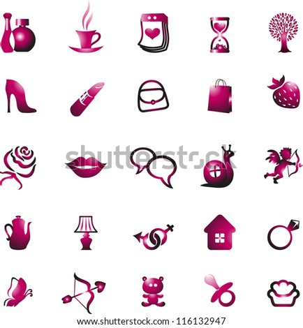 Woman icon set and accessories collection, vector