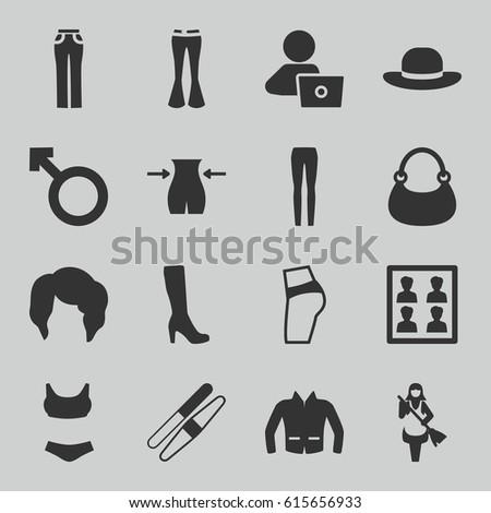 woman icons set set of 16