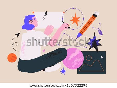 Woman illustrator working in software drawing abstract shapes with stylus pen. Designer character freelancer or art director concept. Creative process of making vector illustration for web ui design.
