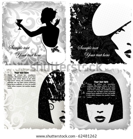 Woman image retro card, vector background set