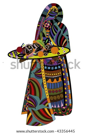 stock vector : woman in a beautiful dress with a delicious meal on a white background in ethnic style