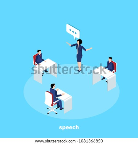 woman in a business suit speaking in front of subordinates, isometric image