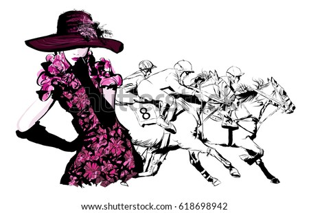 Woman in a horse racecourse  - vector illustration
