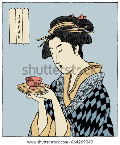 woman in a kimono holding a cup