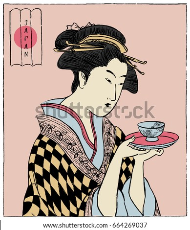 Woman in a Kimono holding a teacup. Japanese traditional style. (Vector illustration)