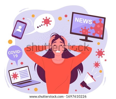 Woman in a panic from a coronavirus. Vector illustration of a young attractive stressful woman surrounded by social media devices with virus information. Isolated on background