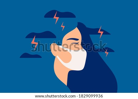 Woman in a protective mask feels anxiety and suffers from panic attacks. Girl in depression with gloomy thoughts breathing through a mask. Mental health vector concept