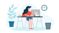 Woman in a suit sitting at the desk and working on the computer. Professional office worker at the workplace. Vector illustration in cartoon style