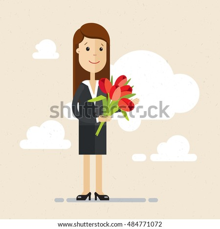 woman in a suit with a bouquet