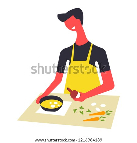 Woman in apron cooks food and serves in bowls. Female character prepares dishes on table. Girl stir ingredients in saucepan and meals on plate. Skillful cook and dishware with courses vector illustrat