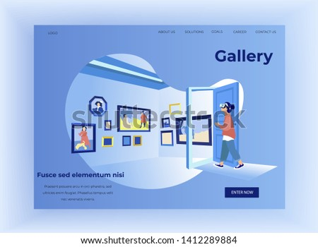 Woman in Art Gallery in Virtual Reality Glasses. Exhibition Center. Vector Illustration. Walk Through Museum. New Technologies. Clothes Pastel Tones. Art Gallery. Watch Exclusive Exhibits.