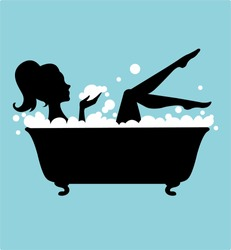 Woman in Bathtub Silhouette