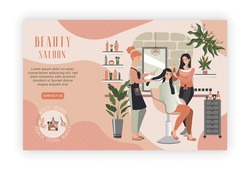 Woman in beauty salon, professional hairdresser and makeup artist people, vector illustration. Beautiful girl haircut styling, cosmetic salon customer. Happy cartoon characters in luxury beauty center