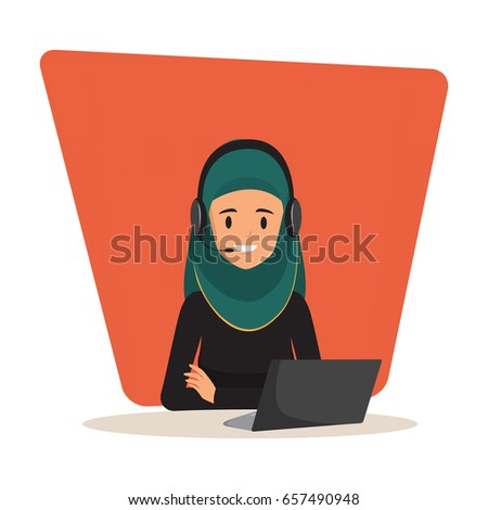 Woman in call center occupation. Customer service character. Illustration vector of arab or muslim people.