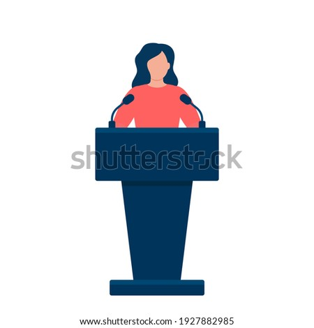 Woman in conference suit on podium, tribune. Speech by people leader, businesswoman, head, teacher. Vector illustration Stock photo ©