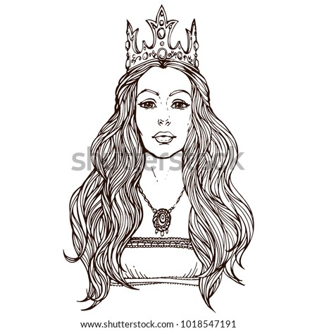 Stock Photo Woman in crown with long hair, qween portrait ink hand drawn line art stock vector princess illustration for coloring book page