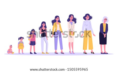 Woman in different age. From child to old person. Teenager, adult and baby generation. Aging process. Isolated vector illustration in cartoon style